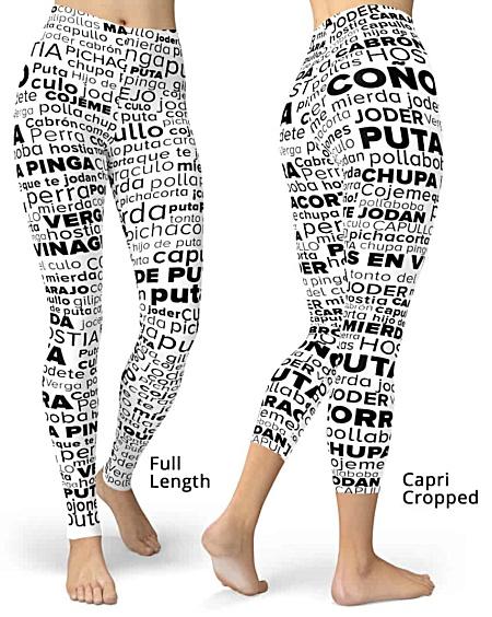 Spanish Swear Words - Swear Word Cloud Rude Leggings