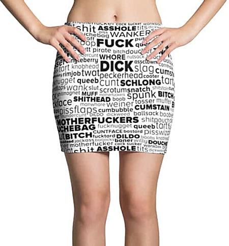 Rude Swear Word Cloud Mini Skirt