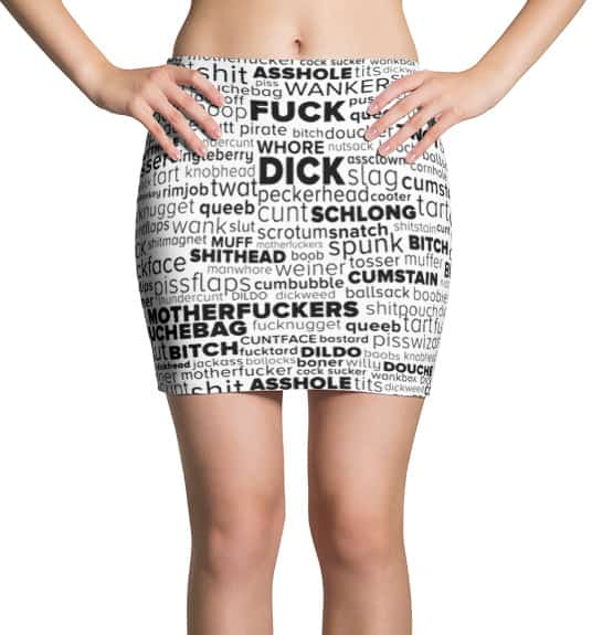 Rude Swear Word Cloud Mini Skirt