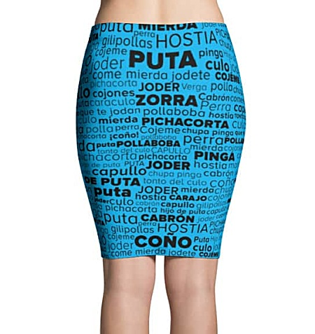 Spanish Swear Word Skirt - Swear Word Cloud