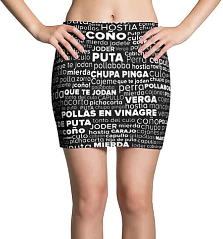 Rude Spanish Swear Word Cloud Mini Skirt