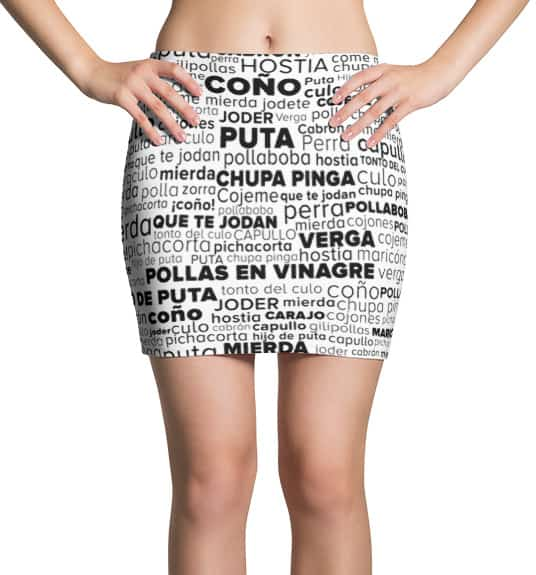 Rude Spanish Swear Word Cloud Mini Skirt