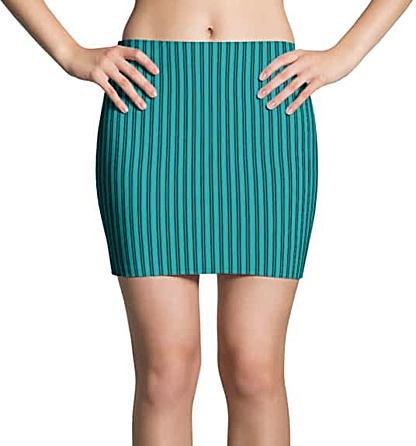 Turquoise pinstriped mini skirt