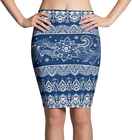 Tribal Paisley Blue Pencil Skirt