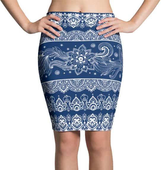 Tribal Paisley Blue Pencil Skirt