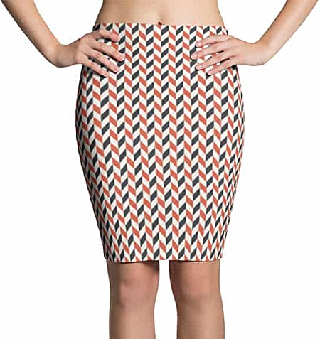 Red Blue Zigzag Skirt