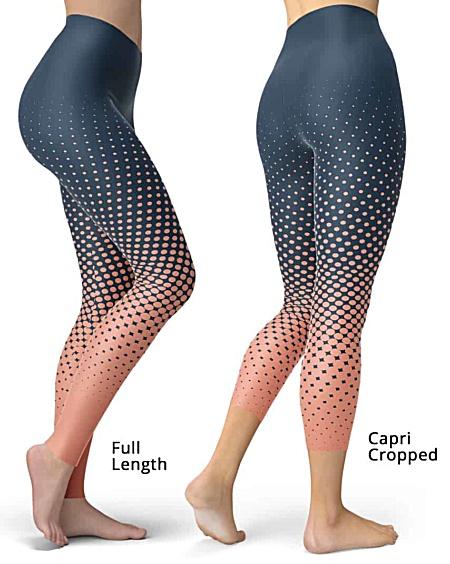 Designer Cool Halftone Leggings - Full length or capri crop legging - Blue / Apricot