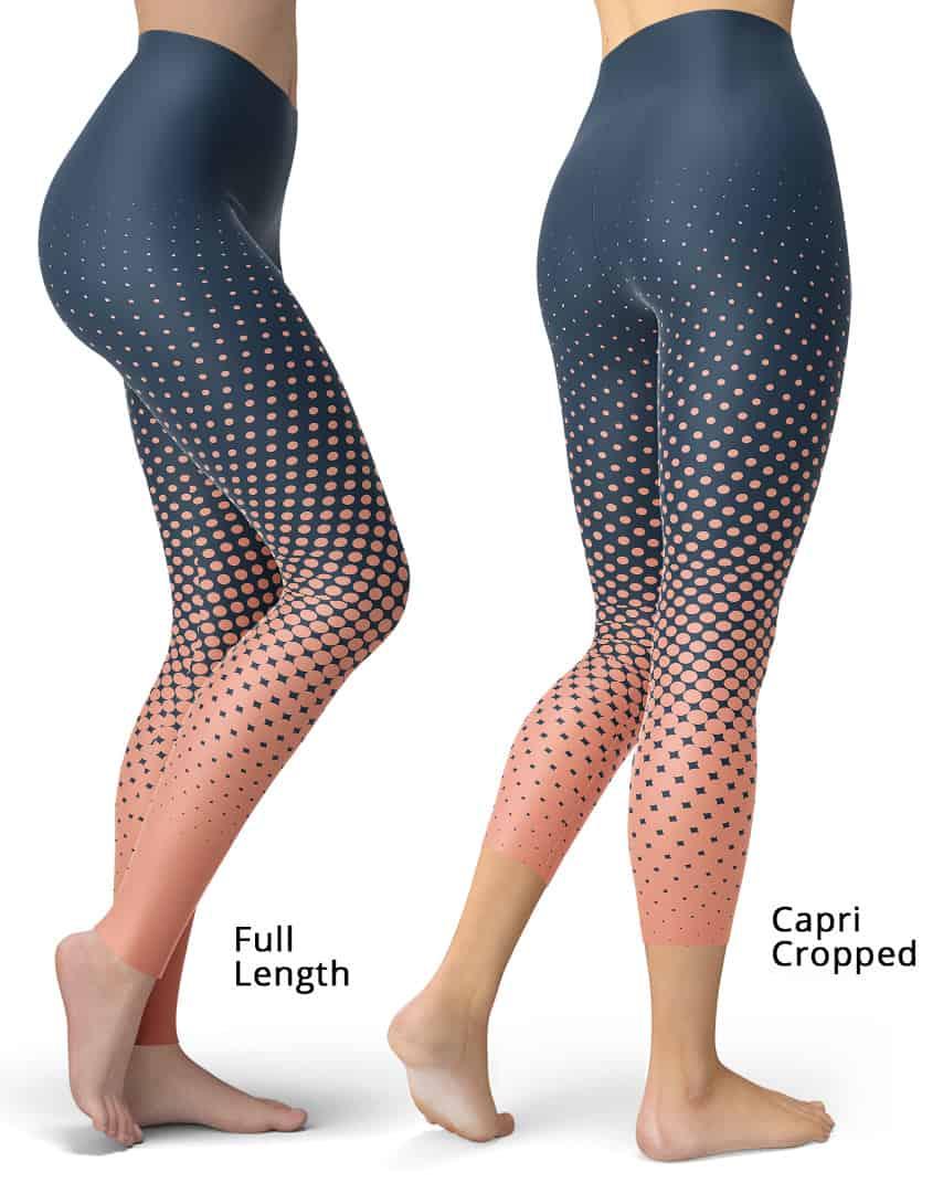 Designer Cool Halftone Leggings - Blue / Apricot
