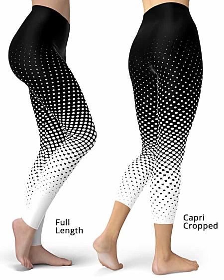Designer Cool Halftone Leggings - Full length or capri crop legging - Black / White