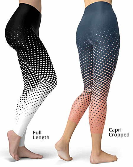Designer Cool Halftone Leggings - Full length or capri crop legging