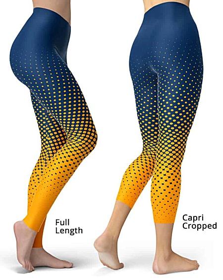 Designer Cool Halftone Leggings - Full length or capri crop legging - Gold / Blue