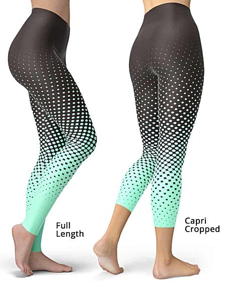 Designer Cool Halftone Leggings - Full length or capri crop legging - Green / Brown