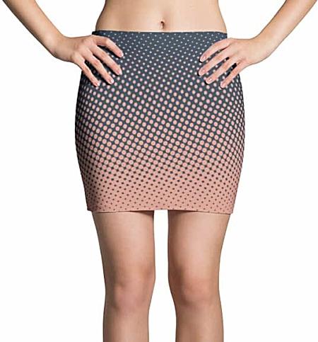 Halftone Multicolored Cool Mini Skirt - Blue & Pink