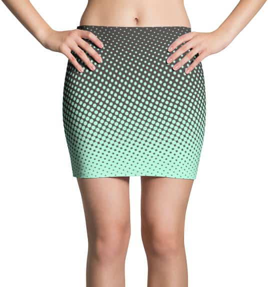 Halftone Multicolored Cool Mini Skirt - Brown & Lime
