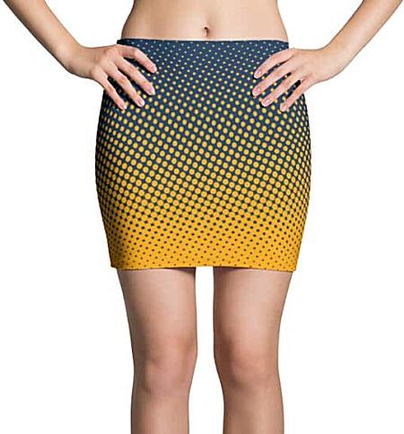 Halftone Multicolored Cool Mini Skirt - Blue & Gold