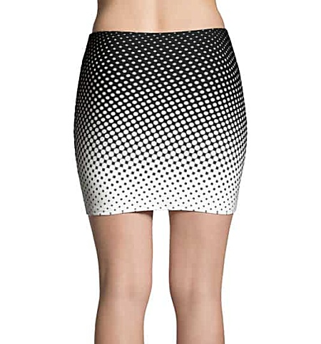 Halftone Multicolored Cool Mini Skirt - Black & White