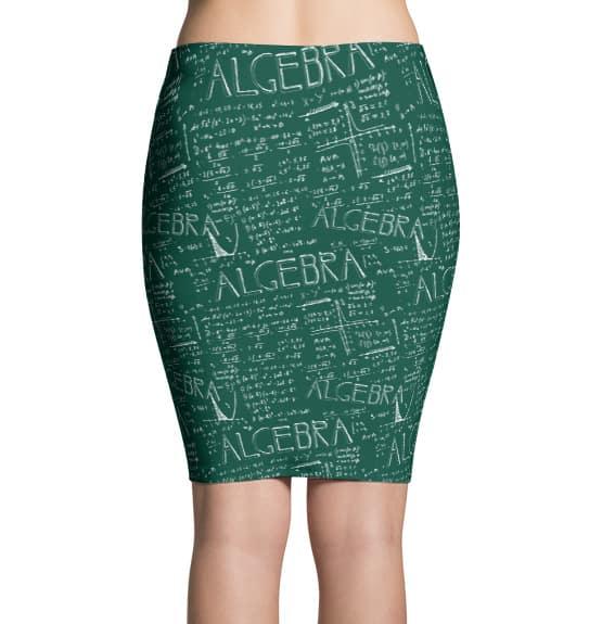 Chalkboard Algebra Math Pencil Skirt