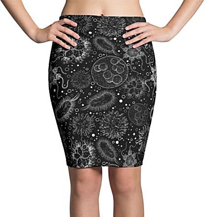 Science Microbiology Virus Pencil Skirt Black