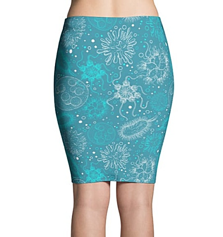 Science Microbiology Virus Pencil Skirt Turquoise