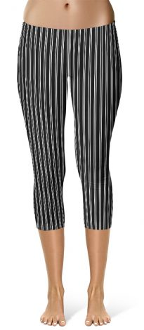Classic Black & White Pin Stripe Leggings - Capri Crop