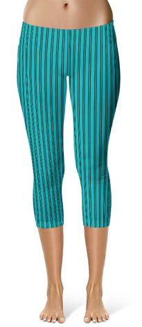 Classic Turquoise Pin Stripe Leggings - Capri Crop