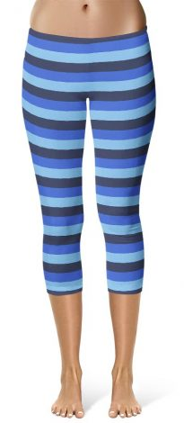 Blue Stripped Capri Crop Leggings