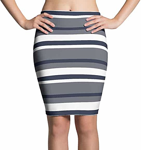 Thinning Pencil Skirt - Horizontal Stripes