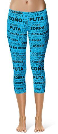 Spanish Swear Words Cloud Rude Capri Leggings