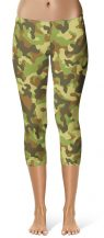 Green camo camouflage Leggings Crop Leggings