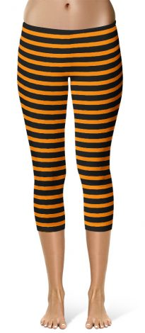 Horizontal Striped Crop Capri Orange Leggings