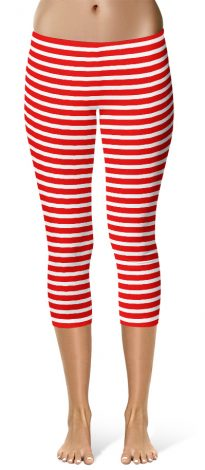 Horizontal Striped Crop Capri Leggings