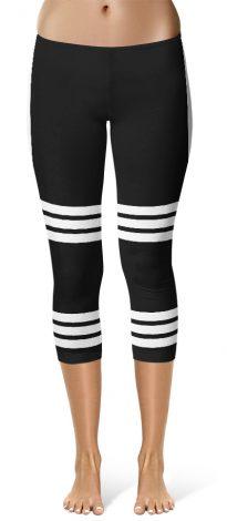 Sexy Capri Leggings Side Stripe Leggings - Black
