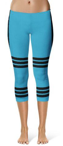 Sexy Capri Leggings Side Stripe Leggings - Blue