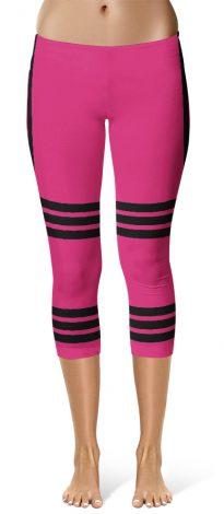 Sexy Capri Leggings Side Stripe Leggings - Pink
