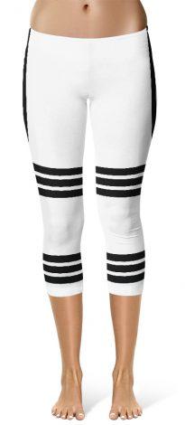 Sexy Capri Leggings Side Stripe Leggings - White