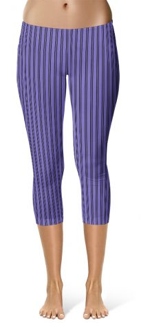 Classic Purple Pin Stripe Leggings - Capri Crop