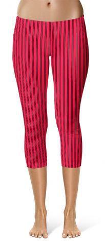 Classic Red Pin Stripe Leggings - Capri Crop