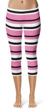 Horizontal Stripe Leggings - Capri Cropped