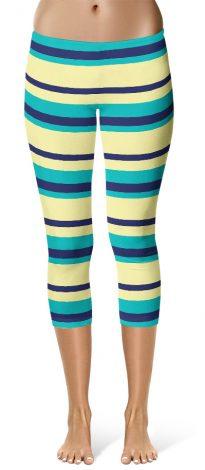 Horizontal Stripe Leggings - Capri Cropped