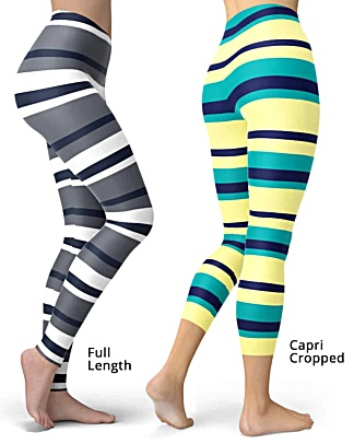 Sexy Horizontal Stripe Leggings - comes in Full length or capri crop striped legging - Yellow Pink Gray