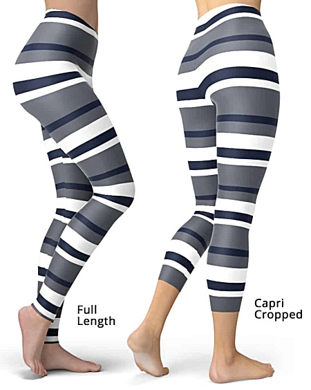 Sexy Horizontal Stripe Leggings - comes in Full length or capri crop striped legging - Yellow Pink Gray