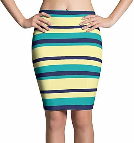 Thinning Pencil Skirt - Horizontal Stripes