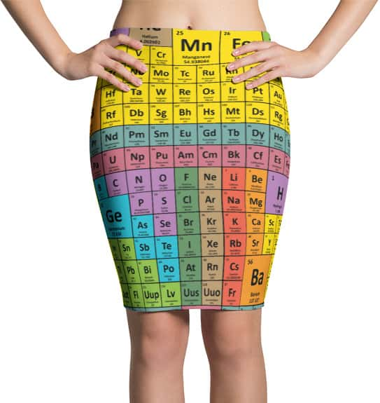 Periodic table chemical elements pencil skirt