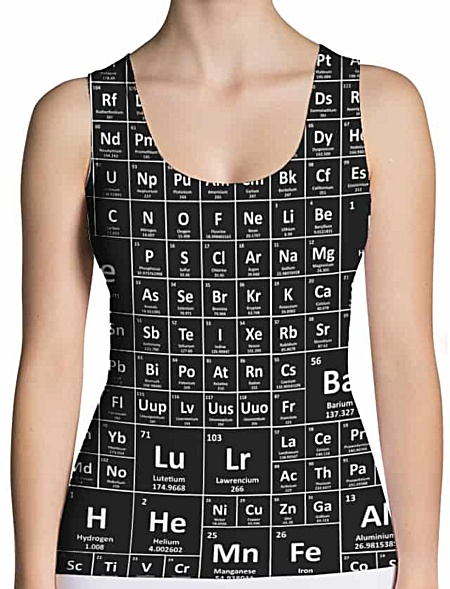 Periodic table chemical elements tank top shirt
