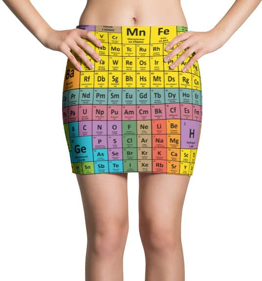 Periodic table chemical elements mini skirt