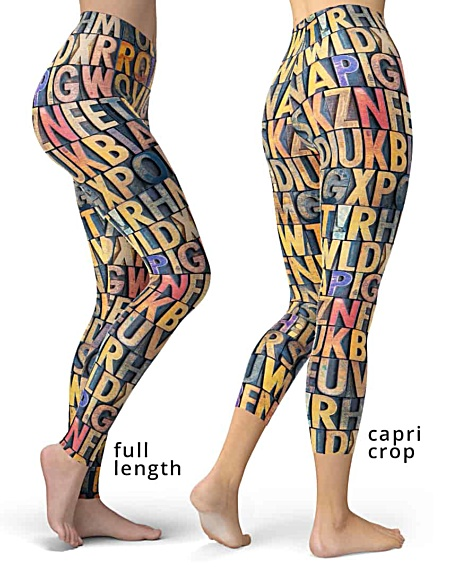 Antique letterpress printer designer leggings