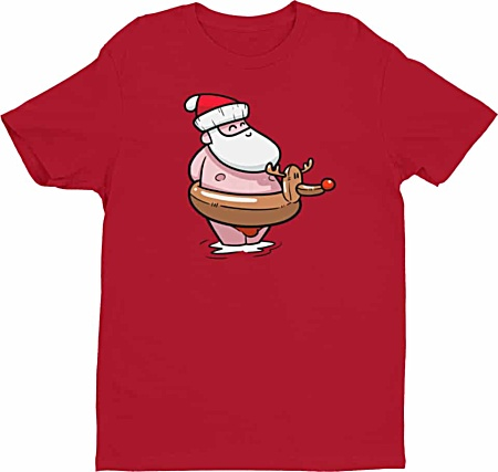 Summer Santa Clause at the Beach Christmas Tshirt - Men's Tee