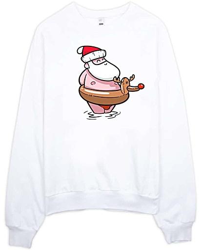 Summer Santa Clause at the Beach Christmas Tshirt - Unisex Christmas Sweatshirt