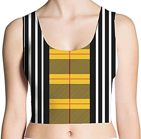 Plaid Tartan & Black/White Stripes Crop Tank Top