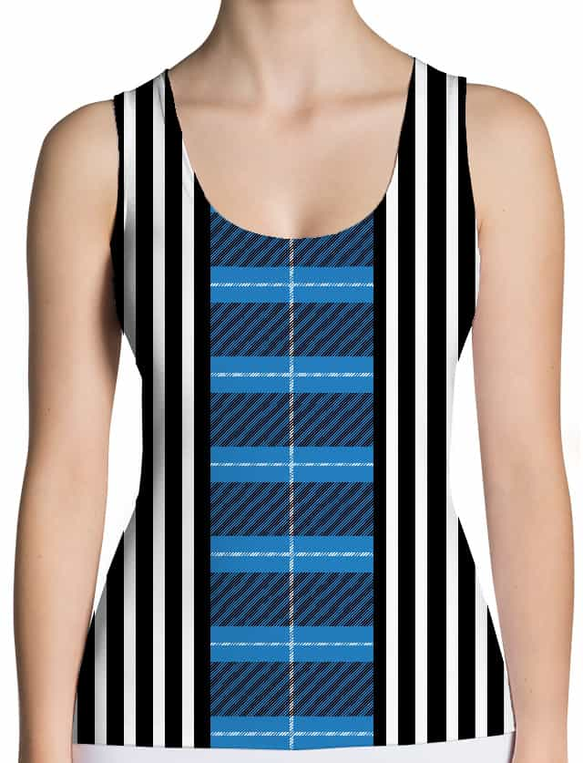 Plaid tartan & black & white stripe tank top